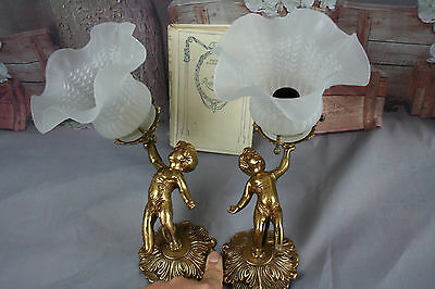 PAIR old French Wall sconces brass Angels putti cherubin tulip shades