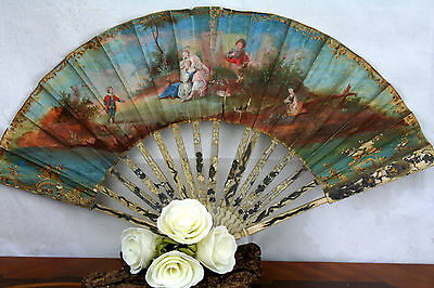 19th c Antique French hand painted Fan victorian Scene front and backside Rare