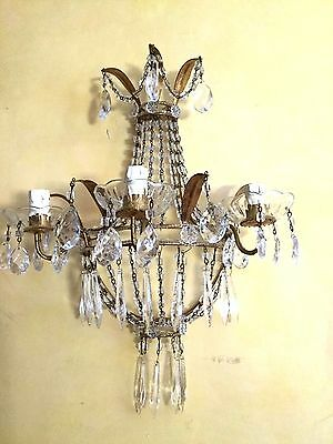 Large Pair Of Antique  Crystal Beaded  Florentine Gold Gilded Sconces