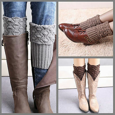 WINTER WARM Crochet Boot Cuffs Shell Knitted Toppers Boot Socks Leg Warmers