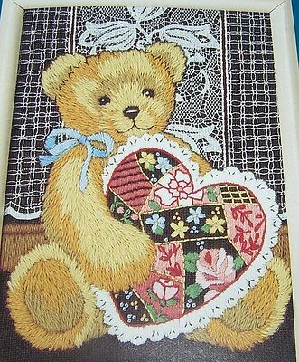 Dimensions Kit Printed Longstitch Crewel Embroidery Crazy Quilt Teddy Bear Craft