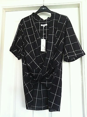 BNWT Ladies Black And White 100% Cotton Cross Over Shirt