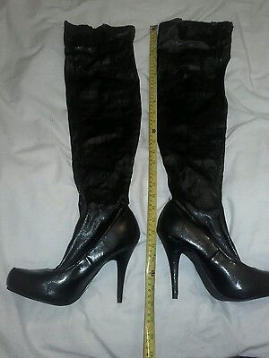 black knee high leather look boots size 6