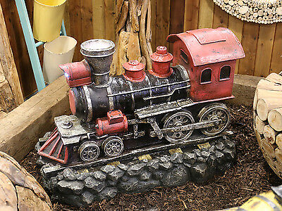 Red Steam Train Water Feature Fountain with LED Lights and Mist