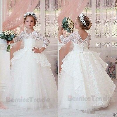 Lace Flower Girl Dress Communion Party Prom Princess Pageant Bridesmaid Wedding
