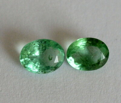 Certified Natural Emerald Oval Cut Pair 5*4 mm 0.60 Cts Zambia Loose Gemstones