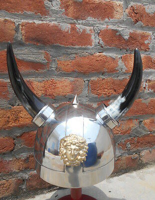 Medieval Vintage Viking Horned Helmet Warrior Crusader Costume