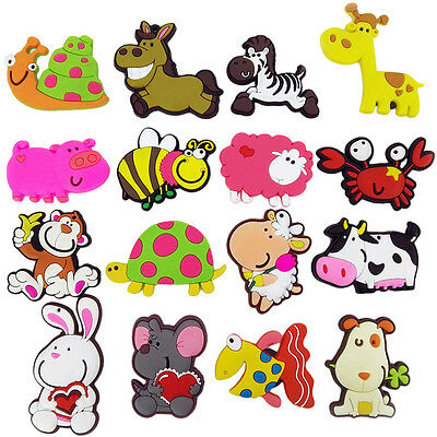 2Pc Lovely Cartoon Animals Fridge Magnet Rubber Fun Colorful Kitchen Art Decor