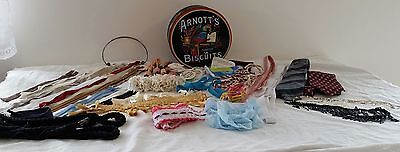 Vintage Retro Arnotts Biscuit Tin full of Zips Lace Braid Tassels Craft Sewing