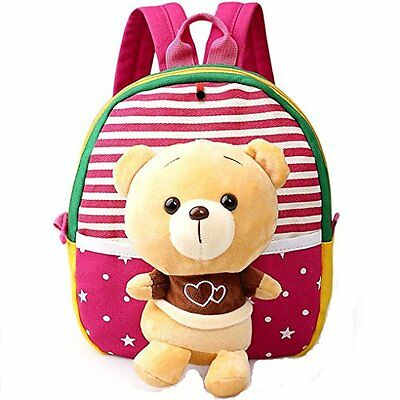 MATMO 3D Cute Cartoon Little Plush Baby Backpack Baby Toy Bag Rose Red Bear