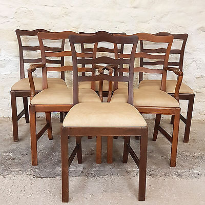 George III Style Ladderback Set of 6 Dining Chairs & Carvers (Antique Repro.)