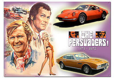 The Persuaders Aston Martin Dbs + Lord Bret Tin Poster + Sign