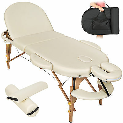 Massagetisch Massageliege Massagebank Therapieliege Reikiliege oval + Set beige