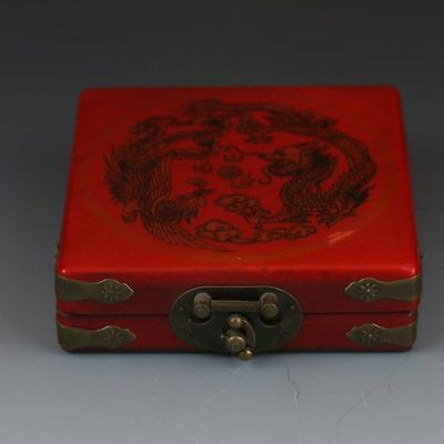 Chinese Collection old Wooden Hand Painted Dragon &Phoenix Box