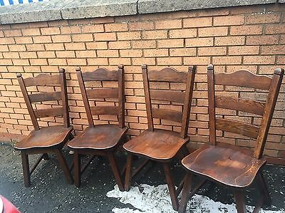 Four solid oak Dutch chunky dining chairs
