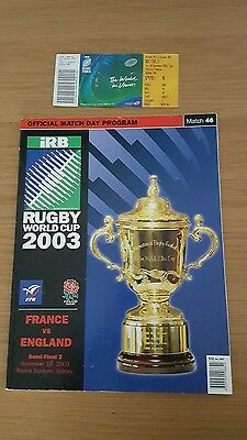 England V France 2003 Rugby World Cup Semi-Final Programme & Ticket Australia 03