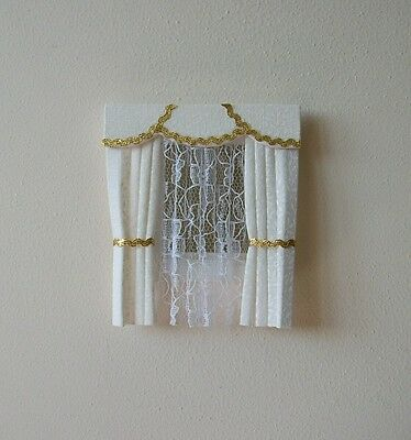 Dolls House Curtains Cream & Gold Dormer Window