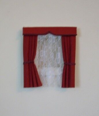 Dolls House Curtains Dark Deep Red  Dormer Window