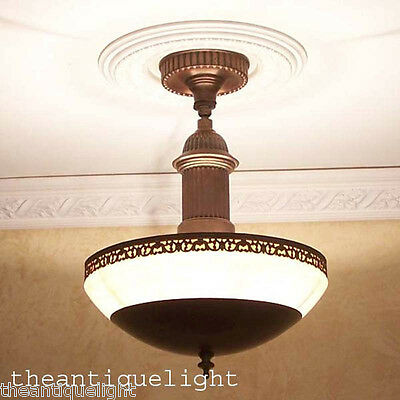 373 Vintage 30s 40s Ceiling Light lamp fixture chandelier gill mfg