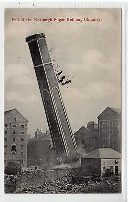 FALL OF ROXBURGH SUGAR REFINERY CHIMNEY, GREENOCK: Renfrewshire postcard (C22010