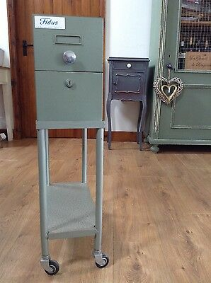 Vintage French 'Fidus' light green Metal filing cabinet on Wheels