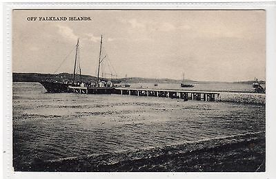OFF FALKLAND ISLANDS: Falkland Islands postcard with schooner at jetty (C21739)