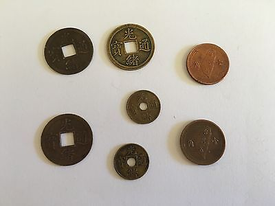 7 anitque chinese coins