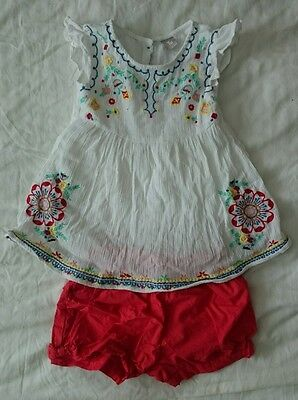 Girls TU Outfit Age 3-4. Top and Shorts. Red, White, Embroidered. 100% Cotton.
