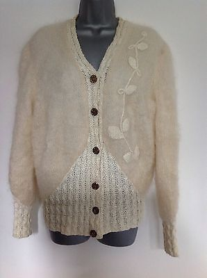 Ladies Vintage Cream Mohair Lined Cardigan Size 14