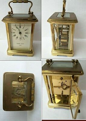 VINTAGE PIERRE JACOT  BRASS MANTLE/CARRIAGE CLOCK-8 DAY orologio tavolo