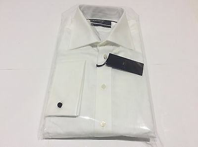 Mens White Twill Wedding Formal Dinner Modern Fit Work Shirt Size 17