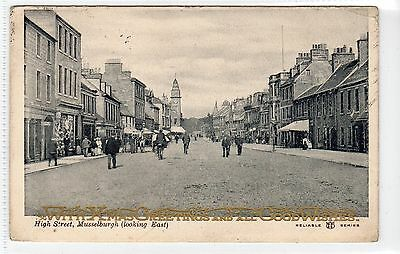HIGH STREET, MUSSELBURGH: East Lothian postcard with Christmas greetings (C21845