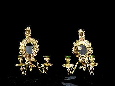 2 Vintage Rococo Wall mount Brass Candlesticks Fixture Sconce Light mid of 1900s