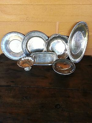 Mixed Lot of 7 Silverplate Platters Dishes Misc -great flea market decor!