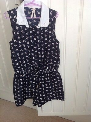 Next Navy Floral Playsuit Age 8