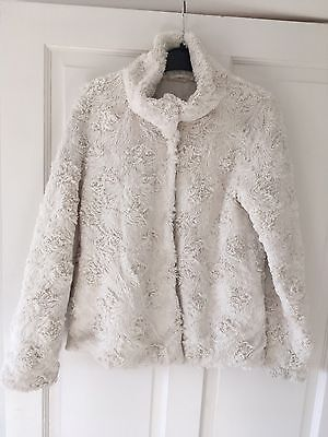 H&M super soft white girls jacket coat age 11 - 12 yrs