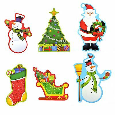 6pc Christmas Cardboard Glittery Wall Decorations
