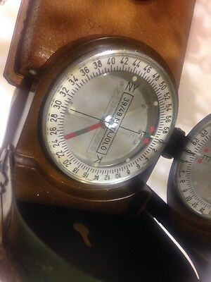 A Fantastic Condition Military Compass In Leather Case And Lanyard