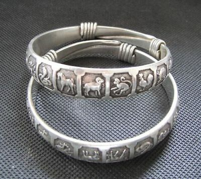 Old Handwork Miao Silver Carved Lucky Chinese Zodiac Adjust Bracelet Bangle