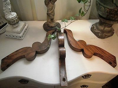 ~3 Antique Oak Wood Furniture Architectural Salvage Brackets Trim Shelf Corbels~