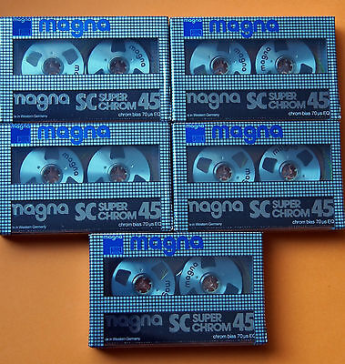 5x MAGNA SC Super Chrom 45 - Reel To Reel Cassette Tapes + NEW & SEALED +