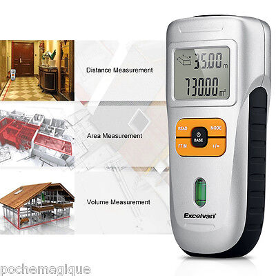 LCD Ultrasonic Tape Measure Distance Meter Laser Pointer Finder Measure Tool UK