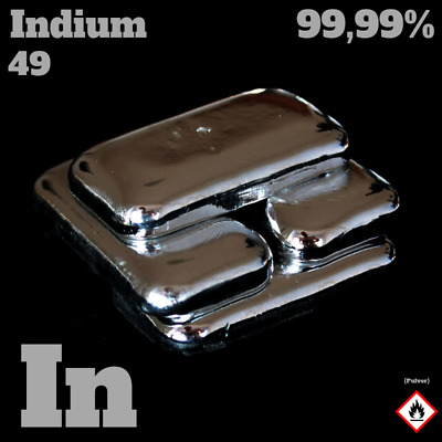 50 g Indium Barren - In 49 - Analyse 99,99% - Indium metal / Metall Indiumbarren