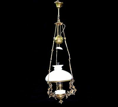 Antique Art Nouveau Fixture Chandelier Ceiling Oil Lamp electrified late 1800s