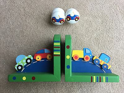 Boy's Wooden Bookends With Cars And Matching Accessory