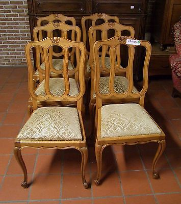 Louis XV Style French Carved Oak Set of 6 Dining Chairs  - (030008)