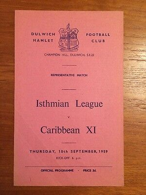 Isthmian League v Caribbean XI At Dulwich Hamlet 1959