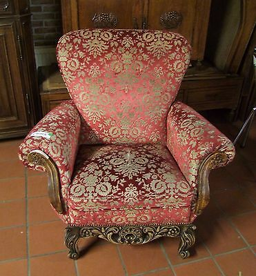 Louis Xv Style Vintage French Carved Oak & Velour Armchair - (030115)