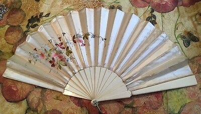 Antique Hand painted Victorian Chinese Silk Large Hand Held Fan FINAL REDUCTION