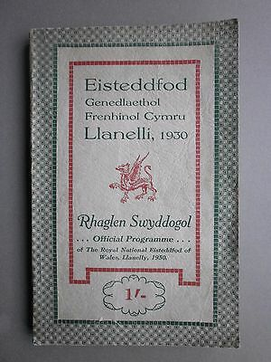 Royal National Eisteddfod Of Wales Llanelli 1930 Official Programme Book